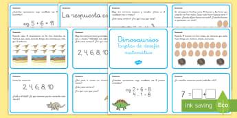 Tarjetas de desafío matemático: 1º ciclo   Los dinosaurios Tarjetas de desafío matemático-Spanish - Spanish market translation suggestions KS1,Spanish