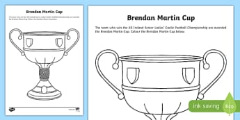 Brendan Martin Cup Colouring Activity Sheet-Irish, worksheet