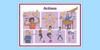 French Actions Display Poster - french, display, poster, actions