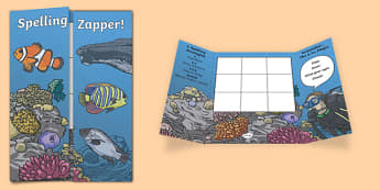 Coral Reef Themed Blank Spelling Zapper - spelling zapper, spell, spelling, zapper, dyslexic, dyslexia, learn, tricky words, personalise, words, blank, coral reef