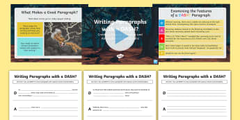 Writing Paragraphs with a DASH?: Creating Tension, Suspense and Atmosphere in Paragraphs Resource Pack - writing, KS2, English, Grammar, vocabulary, sentence structure, paragraphs, description, descriptive