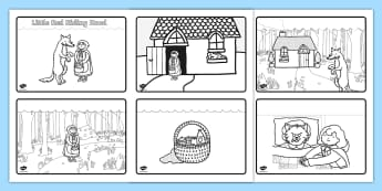Little Red Riding Hood Story Sequencing (4 per A4) - Little Red Riding Hood, traditional tales, tale, fairy tale, Wolf, Grandma, woodcutter, bed, cottage, forest, what big teeth you have