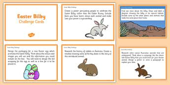 Australia - Easter Bilby Challenge Cards - australia, easter bilby, challenge cards, challenge, cards, easter, bilby