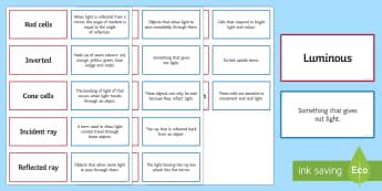 Light, Pairs Glossary Activity - Glossary, light, refraction, light spectrum, reflected, emit