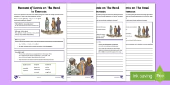 KS2 The Road to Emmaus Differentiated Activity Sheets - writing, recount, bible stories, first person, RE, religion, christianity, christian, worksheets