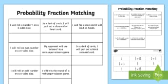 Probability Fraction Matching Cut and Paste Activity - ACMSP116, probability, fraction, chance, chance outcomes, likelihood, possible outcomes, year 5 math