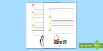 Acróstico: Día del Padre - día del padre, papá, papi, padre, acróstico, poema, poesía, escritura, escribir, pautas, guias,