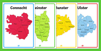 Provinces of Ireland Map Outline Display Posters - provinces, ireland, map, outline, display posters