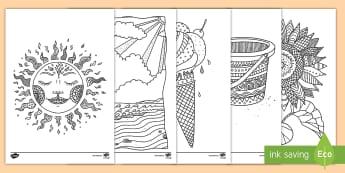 Taflenni Lliwio Ymwybyddiaeth Ofalgar Yr Haf - Yr Haf, summer, colouring sheets, rhifau, traeth, beach, display lettering, posteri, ysgrifennu, sum