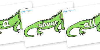 100 High Frequency Words on Iguanas - High frequency words, hfw, DfES Letters and Sounds, Letters and Sounds, display words