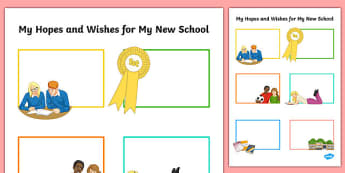 Hopes and Wishes for My New School Secondary SEN Activity Sheet, worksheet