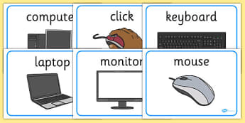 ICT Area Display Word Posters - Computer Area,  ICT, Computer, printer, mouse, keyboard, click, CD, Internet
