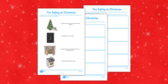Fire Safety at Christmas Differentiated Activity Sheet - sainsburys, advert, fire safety, Christmas, fire, safety, safe, activity, sheet, worksheet