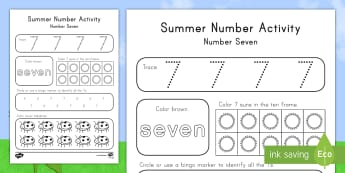 Summer Number Seven Activity Sheet - Summer, summer season, first day of summer, summer vacation, summertime, number recognition, number