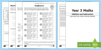 Year 3 Maths: Addition and Subtraction Working From Home Activity Booklet - KS2 Maths Working from home activity booklets, column addition, column subtraction, mental addition,