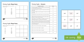 Missing Angles Bingo - angles, missing angles, angles on a straight line, angles in triangles, angles in quadrilaterals, an