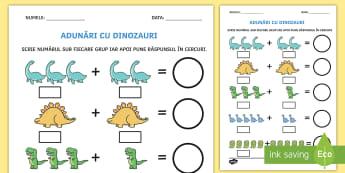 Adunări cu dinozauri Fișă de activitate - adunare cu suport imagistic, matematică, adunări, scăderi, activități, jocuri, fișe,Romanian