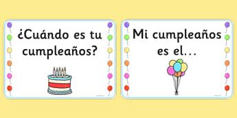 Tarjetas de exposición de cumpleaños - cumplir, años, exposición, calendario