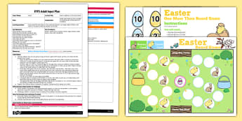'One More Than' Easter Board Game EYFS Adult Input Plan and Resource Pack - adult led, input plan, easter