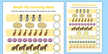 Bandit Rat Themed Counting Sheet - highway rat, bandit rat, julia donaldson, counting, count