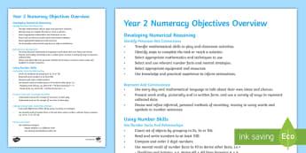 Welsh Year 2 Numeracy Objectives Overview  - Asesu mewn Ysgolion Cymraeg,  Assessment, asesiad, Asesiad,  deilliannau'r cwricwlwm cenedlaethol,