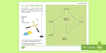 Rounders Umpire Toolkit Pitch Set-Up Activity Sheet - rounders striking fielding bat fielder backstop bowler