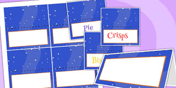 Space Themed Birthday Party Editable Food Labels - parties, props