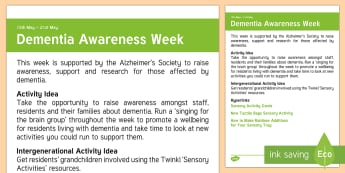 Dementia Awareness Week Adult Guidance - Calendar Planning May 2017, Activity Co-ordinator, Support, Ideas, Elderly Care, Care Homes, Dementi