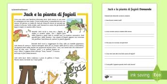 Jack e la Pianta di Fagioli Lettura Differenziata Lettura Comprensiva - jack, e la, pianta, di, fagioli, lettura, comprensiva, differenziata, leggere, domande, italian, ita
