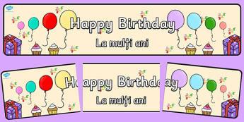 Happy Birthday Display Banner Romanian Translation - romanian, happy birthday, display banner, display, banner