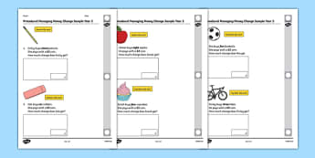 Procedural Managing Money Change Sample Year 2 - welsh, cymraeg, Managing Money, Procedural Test, Year Two