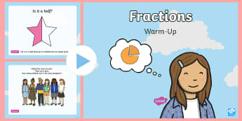 Fractions Warm-Up PowerPoint - KS1 Maths Warm Up Powerpoints, fractions, half, halves, quarter, quarters, numeracy, starter activit