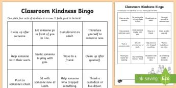 Classroom Kindness Bingo Activity - Kindness, act of kindness, relationships, friendship, caring, bingo