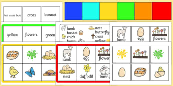 Easter Bingo Matching Game - easter matching game, easter bingo, bingo, easter, matching game, game, fun, easter lotto, image to word matching game, pictures and words matching game, easter activity