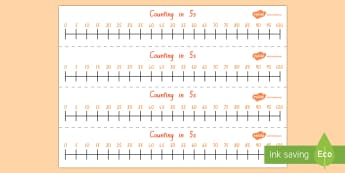 Counting in 5s Number Line - skip counting, maths, number line, counting in 5s, counting to 100