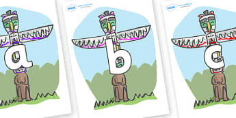 Phoneme Set on Totem Poles - Phoneme set, phonemes, phoneme, Letters and Sounds, DfES, display, Phase 1, Phase 2, Phase 3, Phase 5, Foundation, Literacy