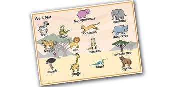 Safari Word Mat - Safari, word mat, writing aid, A4, display, lion, cheetah, puma, jaguar, rhino, hippo, elephant, giraffe, antelope