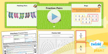 PlanIt Y3 Fractions Lesson Pack Recognise and Show Equivalent Fractions (2) - Fractions, equivalent, equal to, equal fractions, fraction wall, fraction pairs