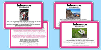 Guided Reading Skills Task Cards Inference Polish Translation - english, language, group, small, books, library, words, infer, challenge, independent, true, truth, made up, implied, detail,