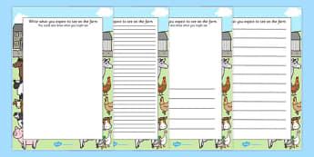 Farm Trip Themed Writing Frames - farm trip, writing frames