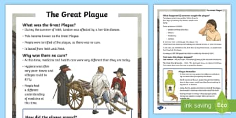 KS2 The Great Plague Differentiated Fact File - KS2, History, Literacy, Great Plague, British history, 1666, great fire, great fire of london