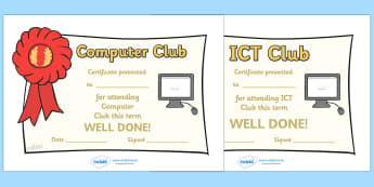ICT Computer Club Certificates - ICT, information and communications technology, computer, ICT Computer club, certificate, certificates, award, member, membership, laptop, monitor, keyboard, mouse, pointer, arrows, backspace, enter, control, Caps Loc