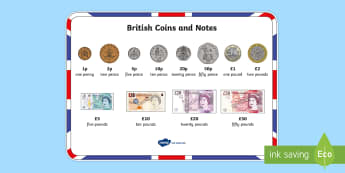 British (UK) Coins and Notes Word Mat - British (UK) Coins and Notes Word Mat - money, coin mat, bank notes, numeracy, maths, united and kin
