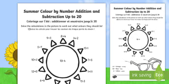 Summer Addition and Subtraction Up to 20 Colour by Number English/French - Summer Colour by Number Addition and Subtraction Up to 20 - 20, +, substraction, adition, coloyur by