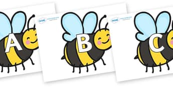 A-Z Alphabet on Bees - A-Z, A4, display, Alphabet frieze, Display letters, Letter posters, A-Z letters, Alphabet flashcards