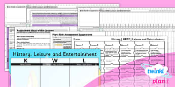 PlanIt - History UKS2 - Leisure and Entertainment Unit Assessment Pack - planit, history