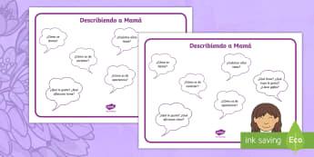 Describiendo a mamá: guión de preguntas - El día de la madre, Mother's Day in Spain, guión de preguntas, questions guide, descripción, des