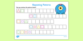 Repeating Pattern Worksheets (Shapes) - Repeating patterns, repeat, repeating, shape repeating pattern, shapes, shape, pattern, patterns, numeracy, patterns, shapes, reapeating pattern