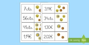 Tarjetas de emparejar: Cantidades de dinero - tarjetas de emparejar, parejas, emparejar, dinero, monedas, euros, céntimos, euro, céntimo, buscar