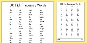 100 High Frequency Words List - 100, high frequency, words, list, 100 high frequency, sight words, vocabulary